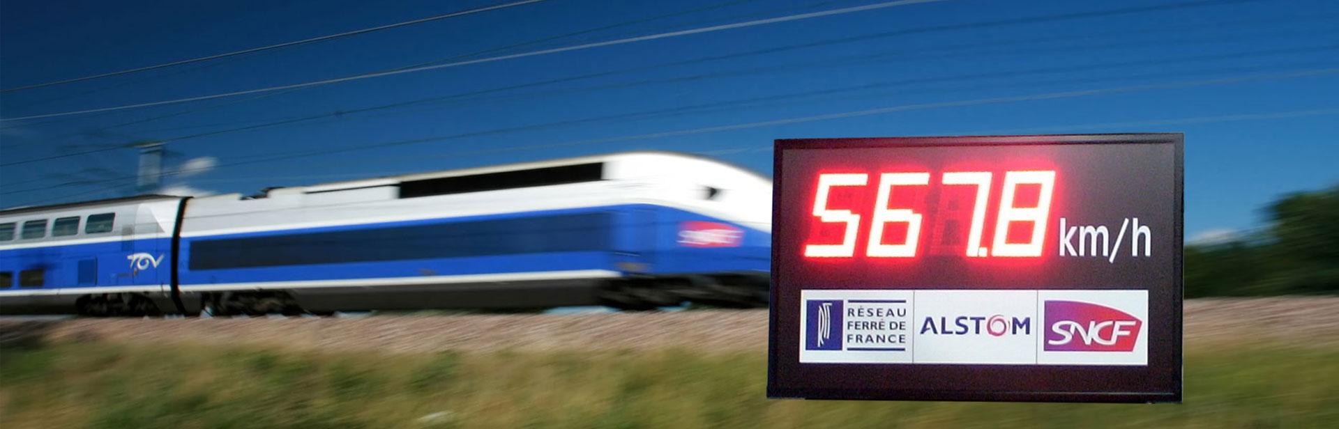 Afficheurs électroniques - affichage du record de vitesse du TGV