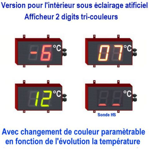 Afficheur température géant 10 cm